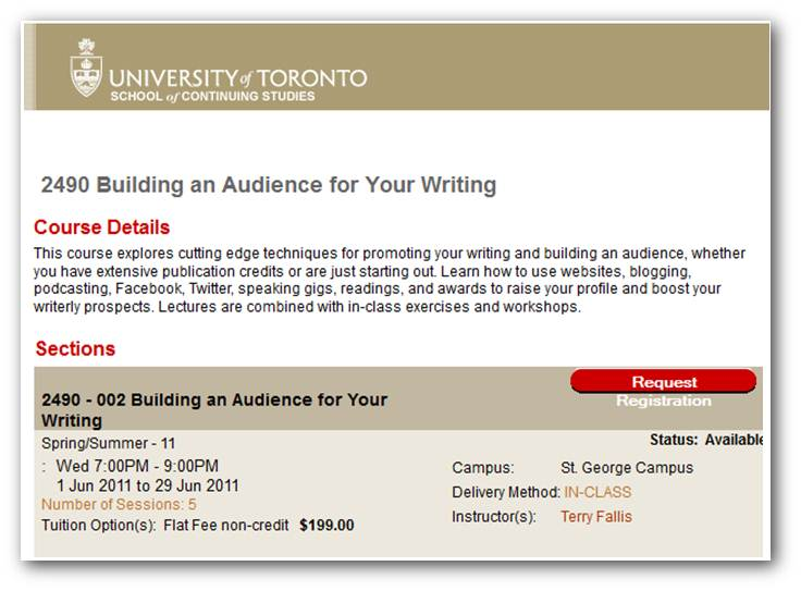 u of t creative writing course To study creative writing at columbia university's school of the arts, in new york  city, is to  worked odd jobs in the city to pay for her columbia writing courses.