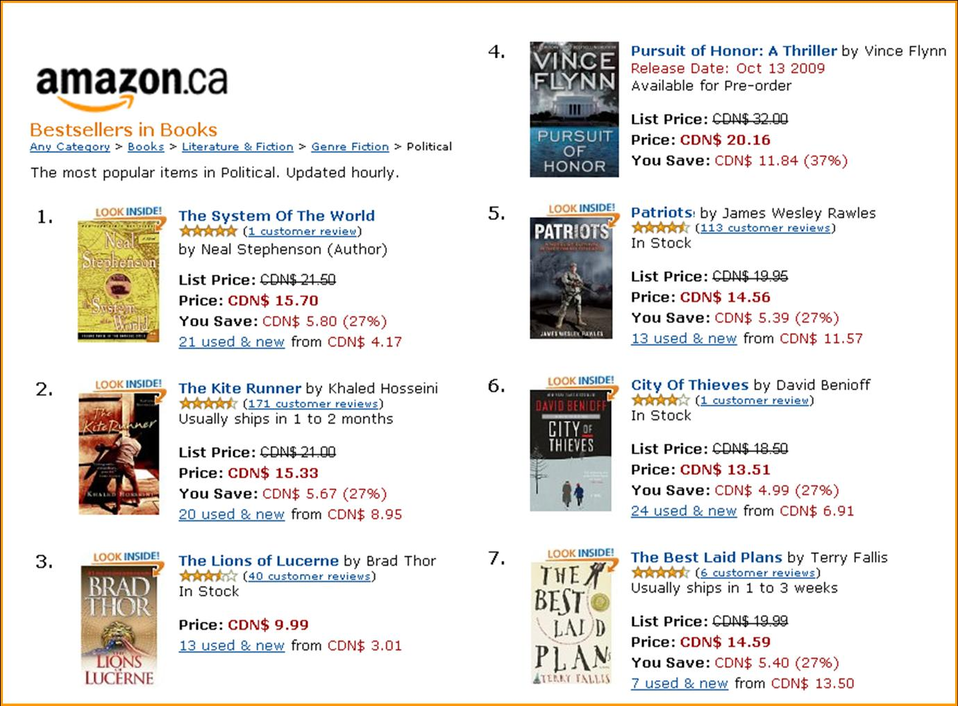 Amazon political bestsellers 090807
