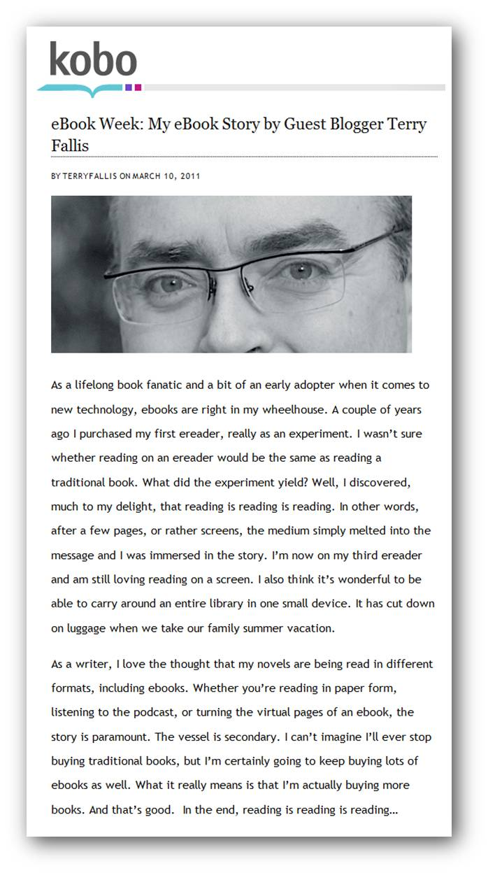 My guest post about ebooks for the KOBO blog | Terry Fallis