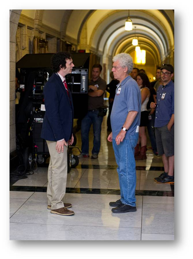 Peter Moss directing Jonas Chernick in Centre Block on Parliament Hill