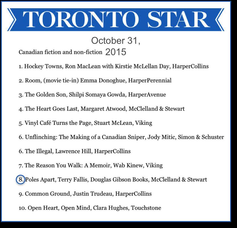 TorStar Bestseller list 151031