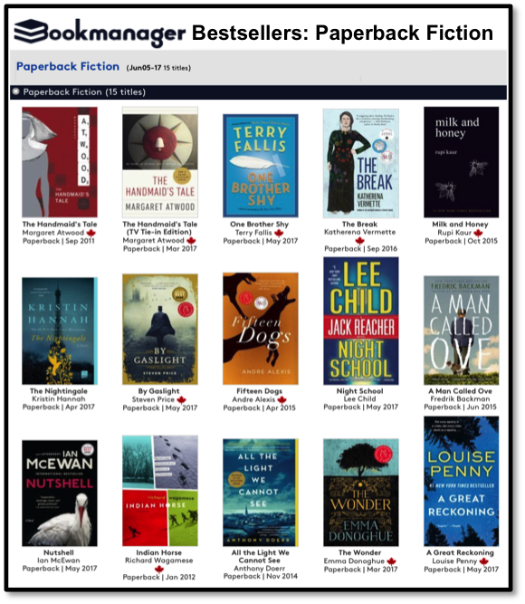 Bookmanager June 5 Bestsellers list