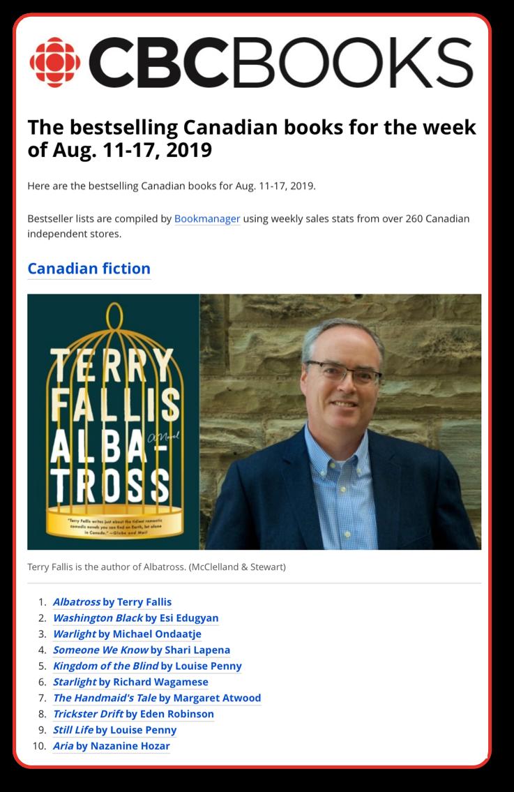 CBC Bestseller list 190820