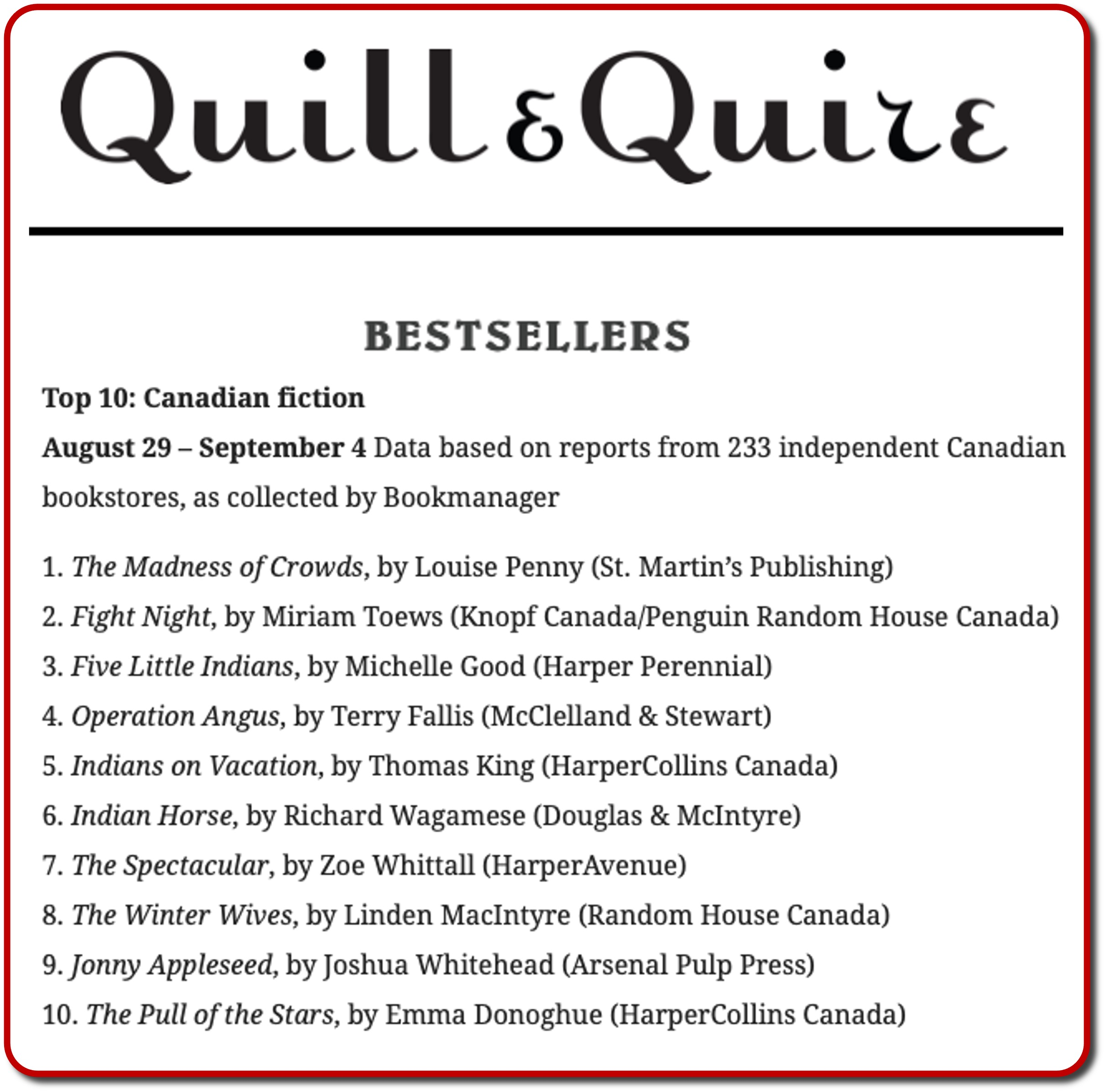 Quill and Quire Sept 4