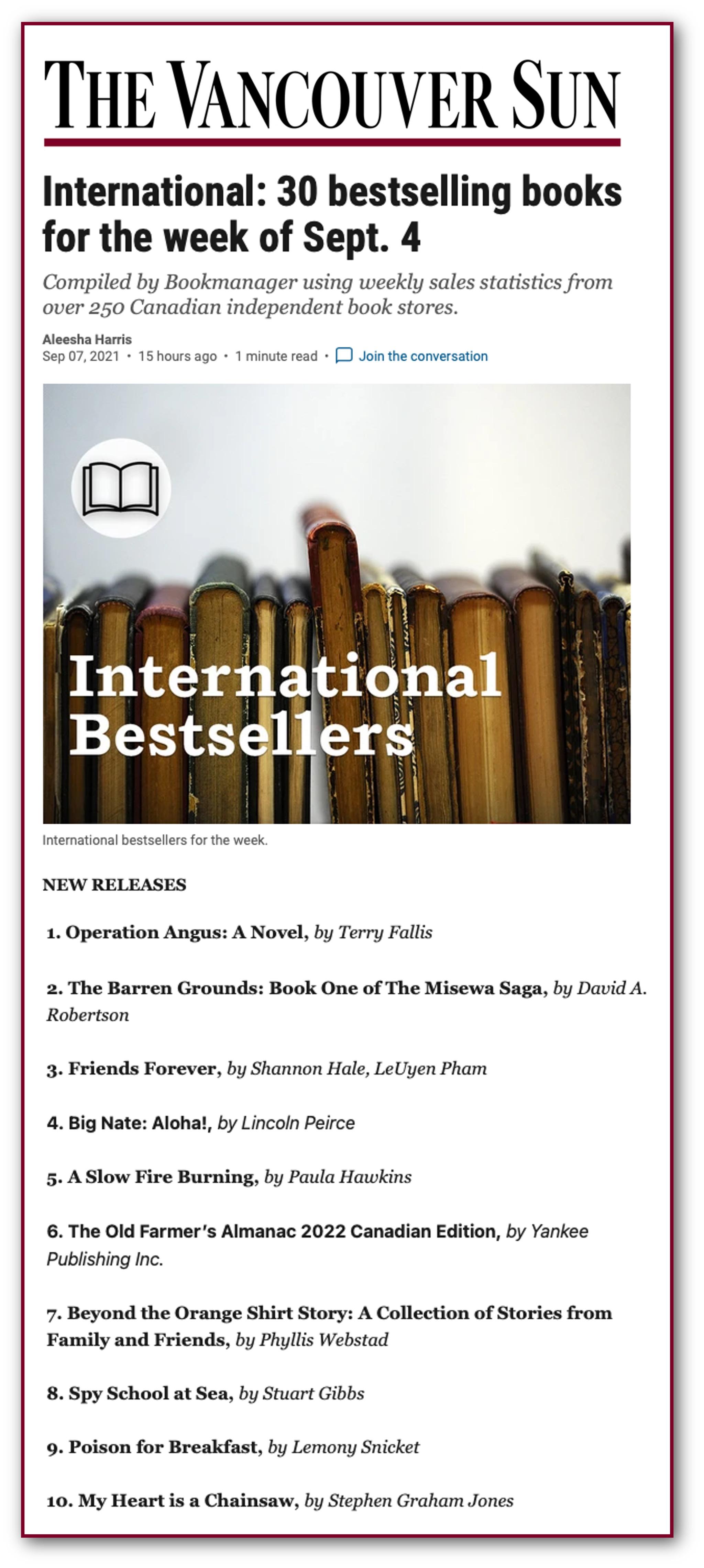 International Bestsellers list for New Releases